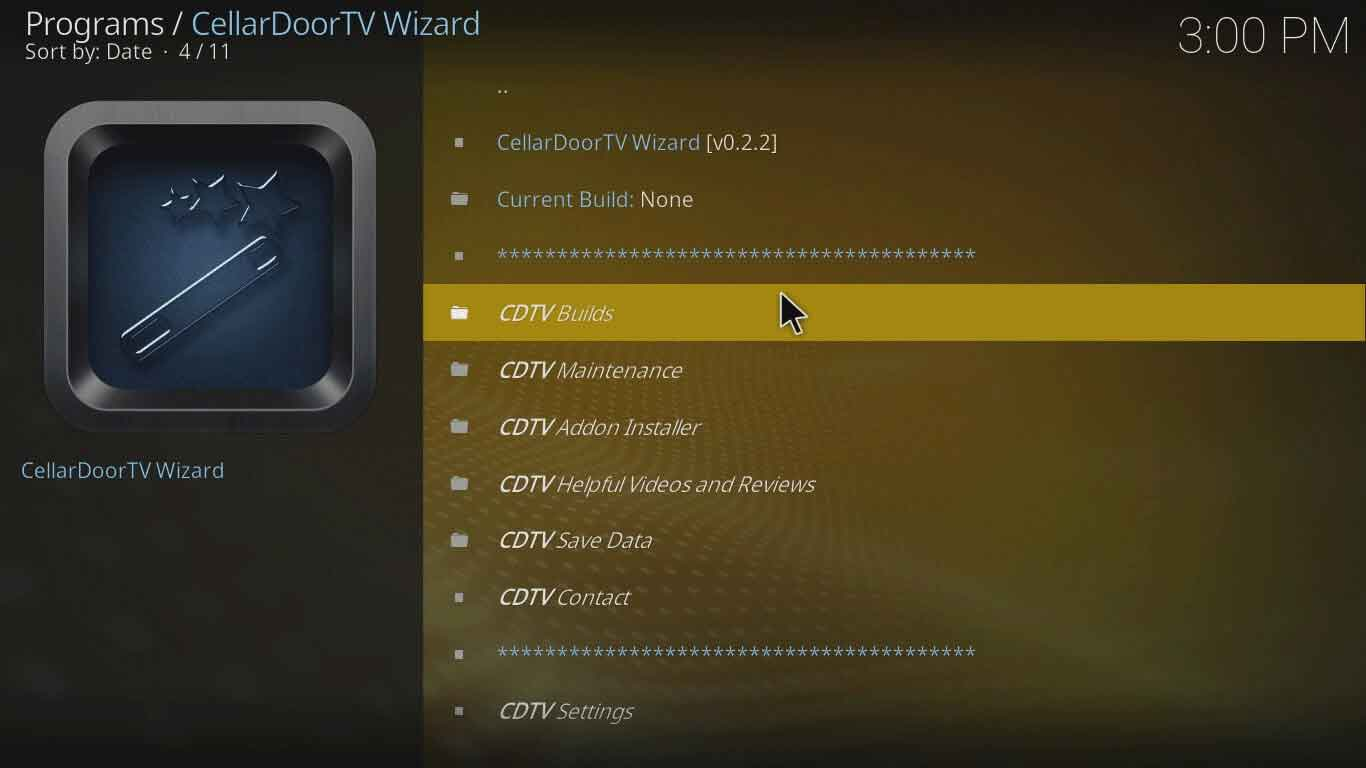 """Cellardoor TV Wizard"" kodi konfigūracija"